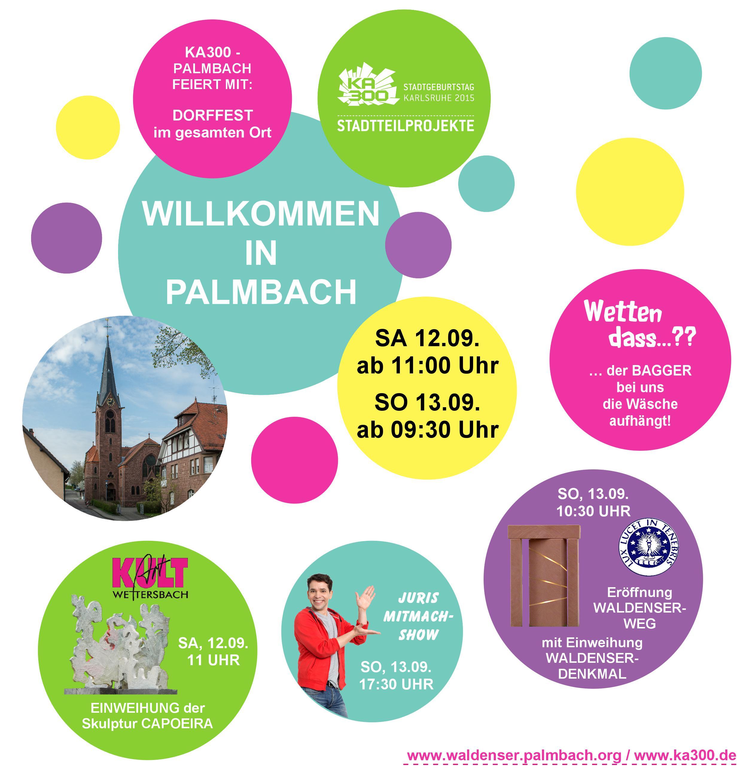 """einladung zum stadtteilfest """"willkommen in palmbach, Einladungen"""