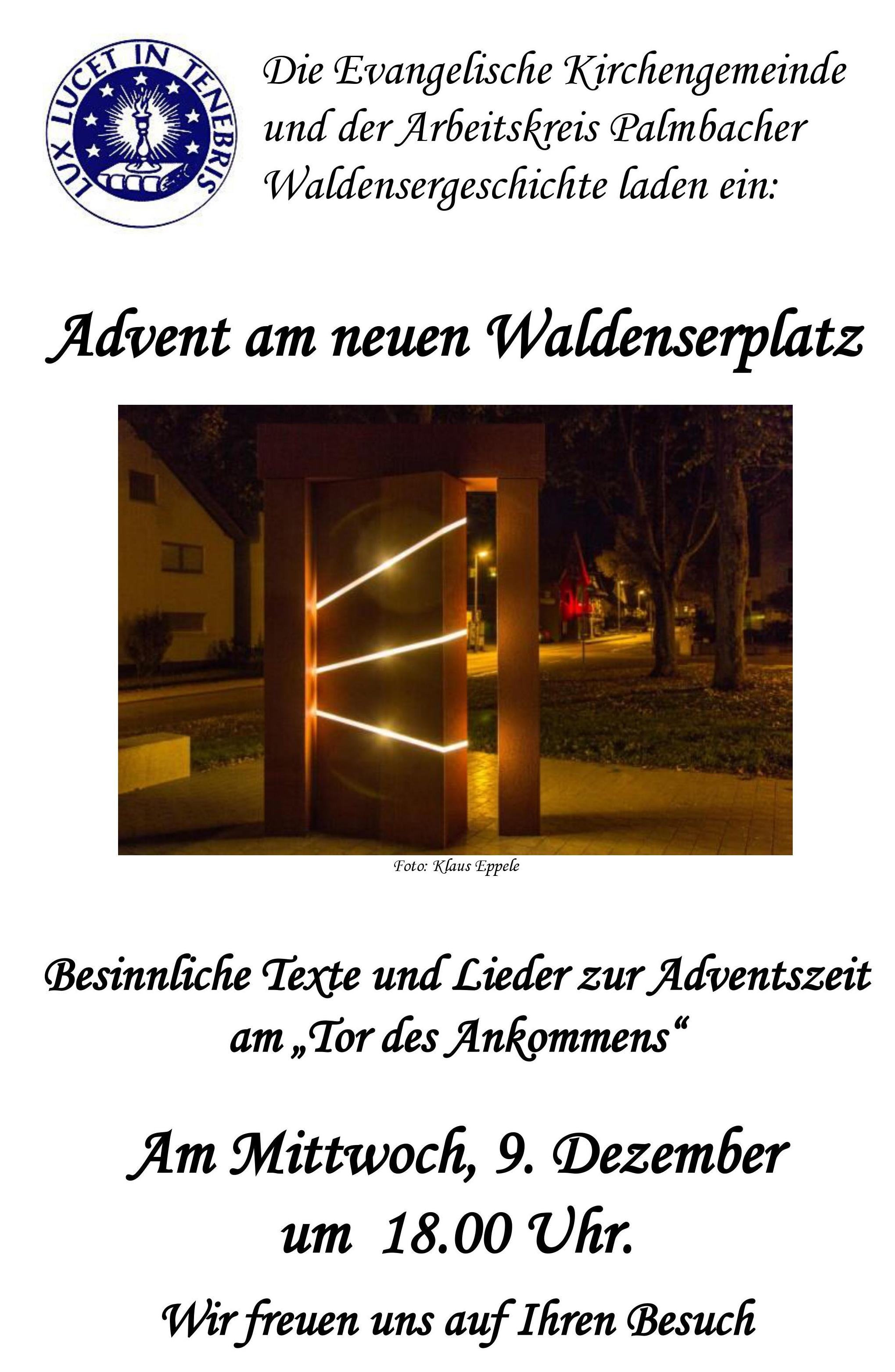 Einladung Advent am Waldenserplatz Palmbach